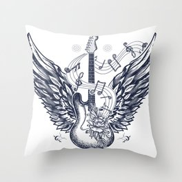 Guitar and wings Throw Pillow