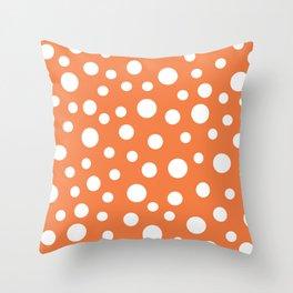 Crazy Dots: ORANGE Throw Pillow