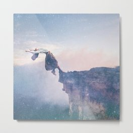 Falling Stars Surreal Levitation Off a Cliff Metal Print