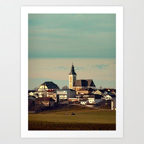 Small village skyline with mint sky | landscape photography Art Print