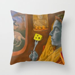 Dream caused by the flight of a cliff racer around a guar a second before awakening Throw Pillow