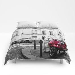 Red Vespa in Paris Comforters