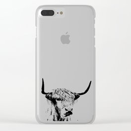 Wall Tapestry  portrait of a highland cow Clear iPhone Case