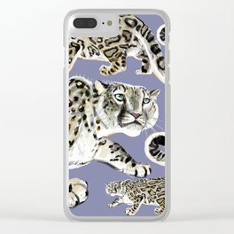 Snow leopard in purple Clear iPhone Case