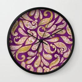 Gold and pink glitter Paisley pattern on purple Wall Clock