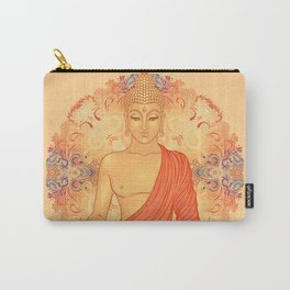 Sitting Buddha over ornate mandala round pattern Carry-All Pouch