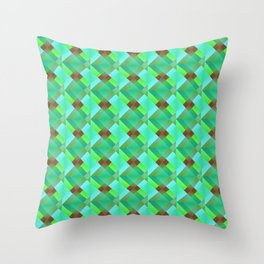 The illusion of bright light blue squares and triangles in green. Throw Pillow