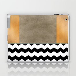 Shiny Copper Coffee Glaze And Black And White Chevron Pattern Laptop & iPad Skin
