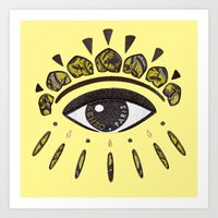 kenzo Art Prints featuring Kenzo eye yellow by cvrcak