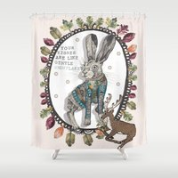 hare Shower Curtains featuring Hare by Sally Darby Illustration