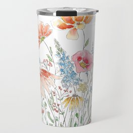 wild flower bouquet and blue bird- ink and watercolor 2 Travel Mug