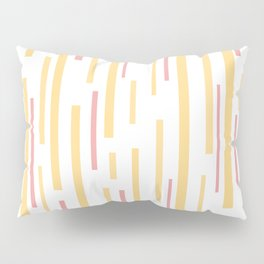 Interrupted Lines Mid-Century Modern Pattern in Mustard Yellow, Bright Pink, and White Pillow Sham