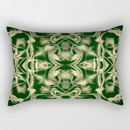 dark green Digital pattern with circles and fractals artfully colored design for house and fashion Rectangular Pillow