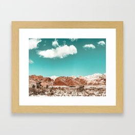 Vintage Red Rocks // Snow in the Mojave Desert Clouds Teal Sky Mountain Range Landscape Framed Art Print