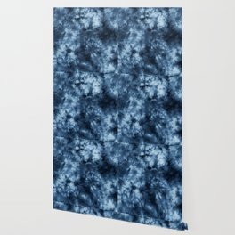Dark Midnight Blue Boho Tie Dye Pattern Wallpaper