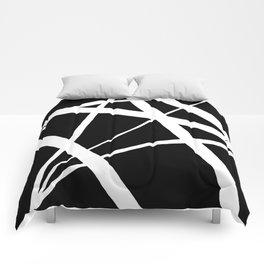Geometric Line Abstract - Black White Comforters