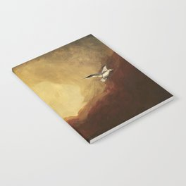 Winged horse with seagull - Silver Stream Children's Book illustration Notebook