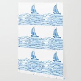 Blue sailboat, watercolor nautical ocean waves sea Wallpaper