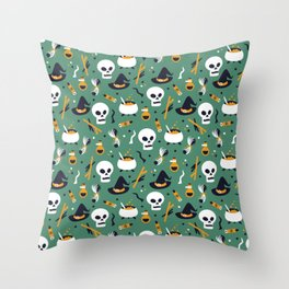 Happy halloween skulls, pots, brooms and witch hats pattern Throw Pillow