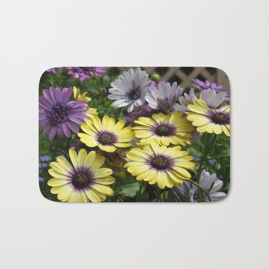 Yellow and Purple African Daisies Bath Mat