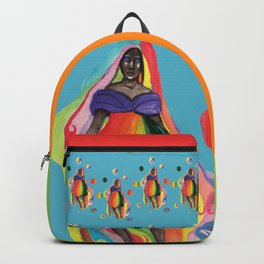The Rainbow Girl Wave on Blue Backpack