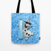 olaf Tote Bags featuring SNOW MAN OLAF by BeautyArtGalery