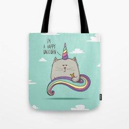 I'm happy unicorn cat Tote Bag
