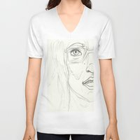 glasses V-neck T-shirts featuring Glasses by writingoverashes