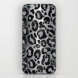 Silver and Black glitter  Leopard/ Jaguar print iPhone Skin