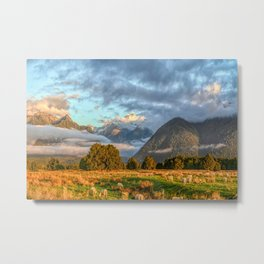 New Zealand South Island Landscape With Sheep Panorama Metal Print