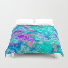 Turquoise and purple cloud art Duvet Cover