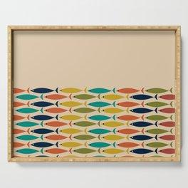 Midcentury Modern Multicolor Fish Half Pattern in Olive, Mustard, Orange, Teal, Beige Serving Tray