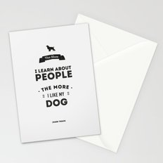 Mark Twain Quote - The more i learn about people, the more ilike my dog. Stationery Cards