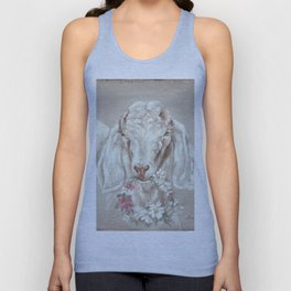 Goat with Floral Wreath by Debi Coules Unisex Tank Top