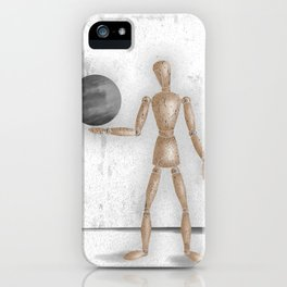 Man With A Globe - Grey  iPhone Case