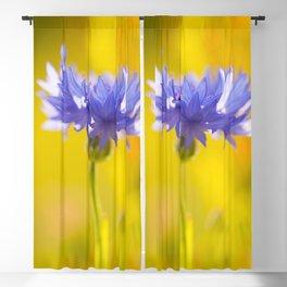 Only One - Blue Cornflower Yellow Bokeh Background #decor #society6 #buyart Blackout Curtain