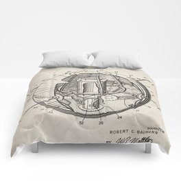 Space Satellite Patent - Outer Space Art - Antique Comforters