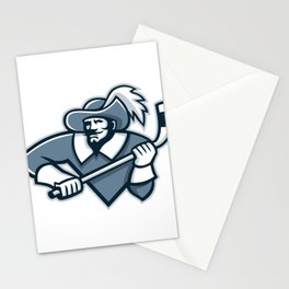 Musketeer Ice Hockey Mascot Stationery Cards