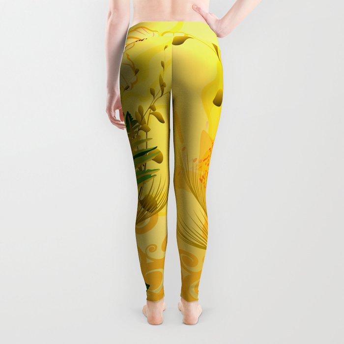 Wonderful soft yellow flowers Leggings