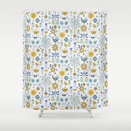 Folky Fox and Friend Shower Curtain