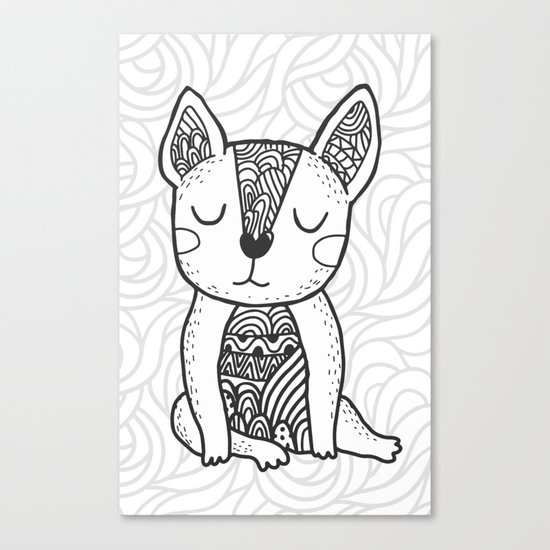 doodle french bulldog Canvas Print
