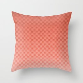 Pantone Living Coral Ombre Gradient - Checker Board - Gingham - Square Pattern Throw Pillow