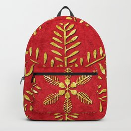 DP044-2 Gold snowflakes on red Backpack