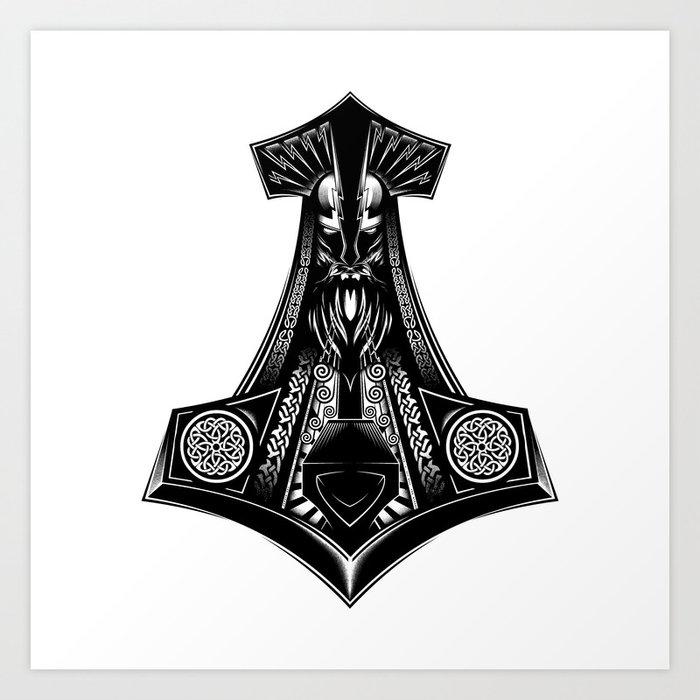 Thor S Hammers Mjolnir Art Print By Straussart Society6