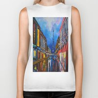 eiffel Biker Tanks featuring Eiffel Tower Street by ArtSchool