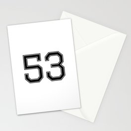 Number 53 American Football, Soccer, Sport Design Stationery Cards