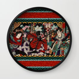 Kabuki Samurai Warriors Wall Clock