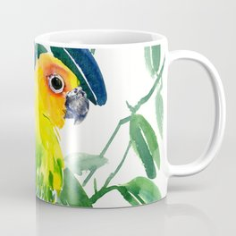Sun Conure Parakeet, jungle tropical colors, parrot yellow deep green bright colored home decor Coffee Mug
