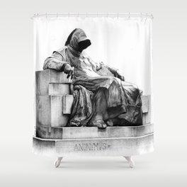 Anonymvs on bic ballpen B&W Shower Curtain