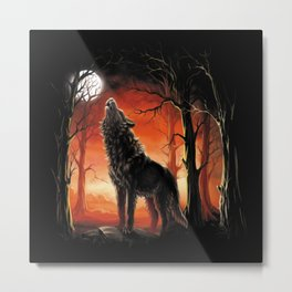 Howling Wolf at Sunset Metal Print